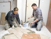 Floor tiles installation