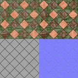 Floor tiles seamless generated texture (diffuse, bump, normal) Royalty Free Stock Image