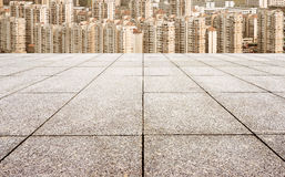 Floor tiles and urban landscape Stock Photo