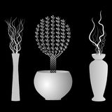 Floor Vases-silhouettes. Vector illustration. Decoration for interior Royalty Free Stock Photography