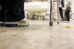 Floor view on a kid waiting at the airport royalty free stock photography