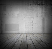 Floor and wall. Wooden floorboards and grey wall Stock Photos