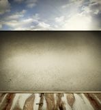 Floor and wall. Wooden floorboards, wall and sky. Copy space Stock Image