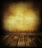 Floor and wall. Wooden floorboards and textured wall Stock Photos