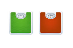 Floor Weight Scales. Vector Photo Realistic Illustration Of Fit Concept. Red And Green Floor Weight Scales Isolated On White Royalty Free Stock Photography