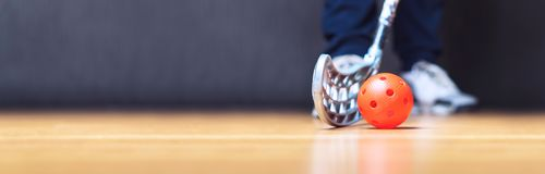 Floorball横幅、背景和模板 免版税图库摄影