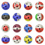 Floorball Balls with Flags. Floorballs with the flags of all countries participating in the 2010 World Championships Royalty Free Illustration