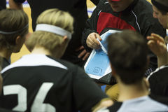 Floorball Coach. Important strategy in a game stock photos