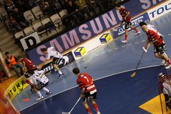 Floorball dinâmico - Stresovice contra Ostrava Fotografia de Stock Royalty Free