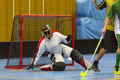 Floorball game. Goalie is prepare for a shot royalty free stock photos