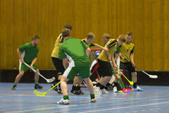 Floorball game. Goalie makes a great save royalty free stock photo