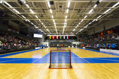 Floorball Game. Crowded arena - Empty net, no goalie stock photos