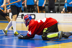 Floorball. Game - Goalie makes a great save stock image