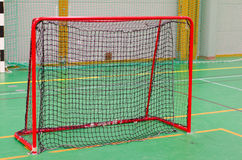 Floorball goal. A red net goal used for indoor hockey/floorball Royalty Free Stock Image