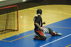 Floorball. Goalie during a game royalty free stock images
