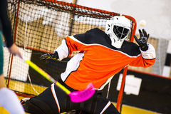 Floorball Goalie. Makes a great save royalty free stock images