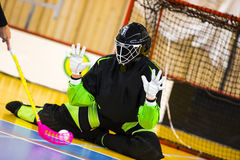 Floorball Goalie. Makes a great save stock image