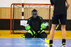 Floorball Goalie. Makes a great save stock photography