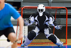 Floorball. Goalie ready to make a save royalty free stock photos