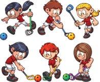Floorball kids Stock Images