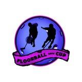 Floorball logo dla drużyny i filiżanki Fotografia Royalty Free
