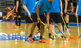 Floorball. Players warming up before big game stock photography