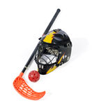 Floorball stick, helmet and ball. On the white background stock photography