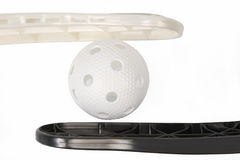 Floorball stick and white ball Royalty Free Stock Photography