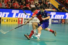 Floorball struggle in czech league Royalty Free Stock Photos