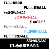 Floorball textl για το λογότυπο η ομάδα και το φλυτζάνι Στοκ Φωτογραφία
