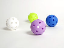 Floorballs sur le blanc Photographie stock