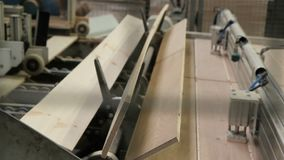 Floorboard production in the factory stock video