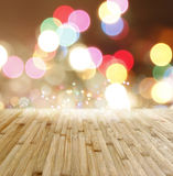 Floorboards and bokeh Royalty Free Stock Images