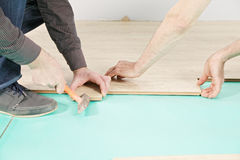 Flooring installation Royalty Free Stock Images