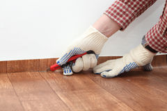 Flooring installation Royalty Free Stock Image