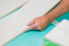 Flooring renovation. Handyman renovating house, installing laminate wood flooring with care Stock Images