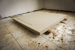 Flooring with white tiles and making roofs photo taken in Bogor Indonesia Royalty Free Stock Photo