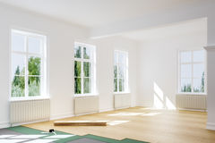 Flooring - wooden floor being but in home stock photography