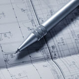 Floorplan. And a pen royalty free stock images