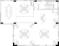 Floorplan d'une disposition commerical de bureau Photographie stock