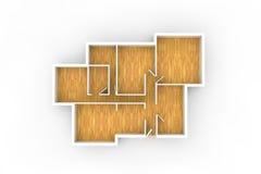Floorplan för typisk hus eller kontorsbyggnad med trägolvet Arkivfoto
