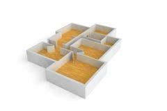 Floorplan per i pavimenti di legno dell'edificio per uffici o di una casa tipica Fotografie Stock