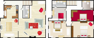 Floorplan típico de la casa de s Imagen de archivo