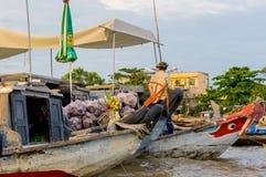 Flootingsmarkt op de Mekong Rivier royalty-vrije stock fotografie