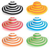 Floppy beach hat. A selection of floppy beach hats in various colors Stock Image