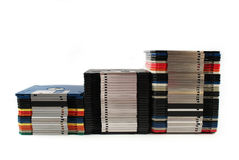 Floppy discs in stacks. Isolated on white Royalty Free Stock Images