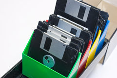 Floppy disk. In a box container. white background stock photography