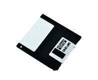 Floppy Disk. Rear view of a 3-and-a-half-inch floppy disk. isolated on white Stock Photo