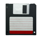 Floppy disk. Black 3.5 floppy disk with empty label isolated on white royalty free stock photography