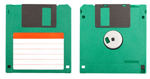 Floppy disk. Both sides of a floppy disk isolated on white stock photography